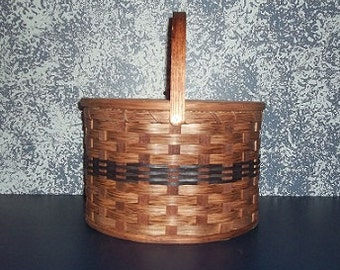 Handwoven Round Double Pie Carrier Basket with Wooden Handle