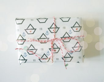 Paper Boat Gift Wrap.