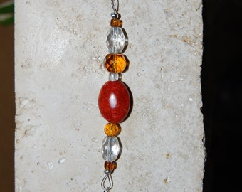 Purse Jewelry or Keychain in Orange and Amber Customized with your Initial Charm