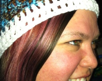 Crochet Cap  / Hat Blue, Brown and White