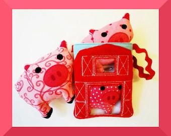 3 Little Piggies Softies Plush Toys Machine Embroidery Design Three Little Pigs
