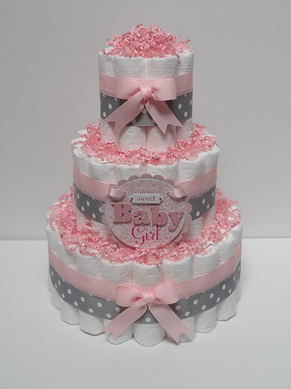 Baby girl pink and gray diaper cake baby by for Baby shower decoration diaper cake