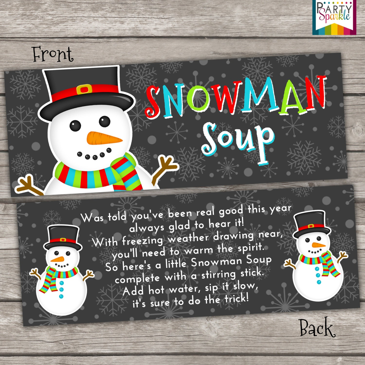 This is a photo of Sly Free Snowman Soup Labels