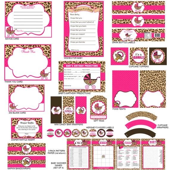 Leopard Print Baby Shower Supplies: Cheetah Print Baby Shower Party Package Cheetah Print Party