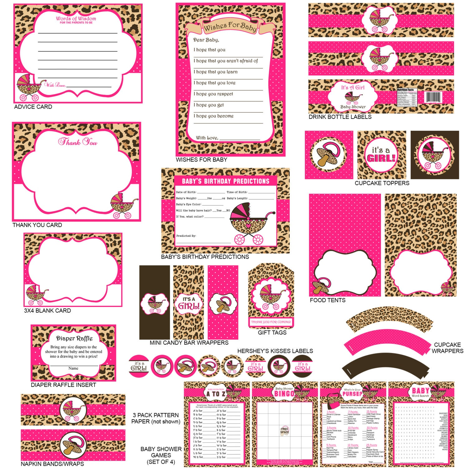 cheetah print baby shower party package cheetah print party