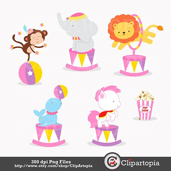 CIRCUS 2 Digital Clipart Circus Clipart Clown Clipart by ... |Circus Girl Art Print