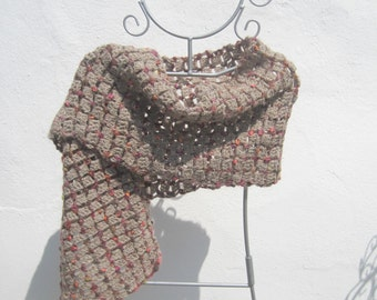 crochetted beige and pink scarf
