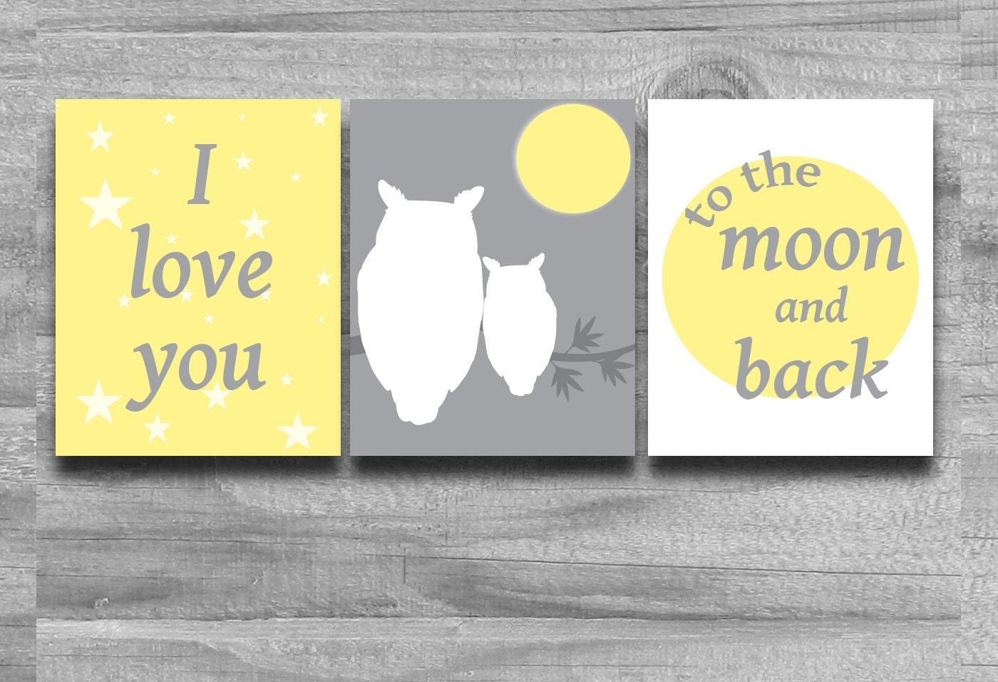 Nursery Art Yellow Gray Set Of 3 I Love You By
