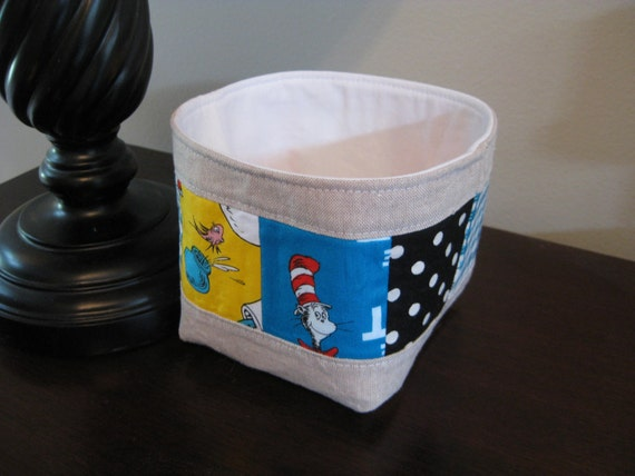 Thread catcher fabric basket dr seuss by meadowmistdesigns