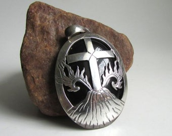 Large Sterling Onyx Pendant - Cross Volcano Flames theme