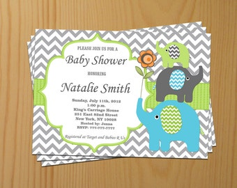 Elephant Baby Shower Invitation Boy Baby Shower invitations Printable Baby Shower Invites Blue Green / FREE Thank You Card / Download (87g)