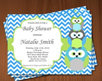 Owl Baby Shower Invitation Boy Baby Shower invitations Printable Baby Shower Invites -FREE Thank You Card - editable pdf Download (546) blue