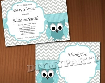 Owl Baby Shower Invitation Boy Baby Shower invitations Printable Baby Shower Invites -FREE Thank You Card - editable pdf Download (556) blue