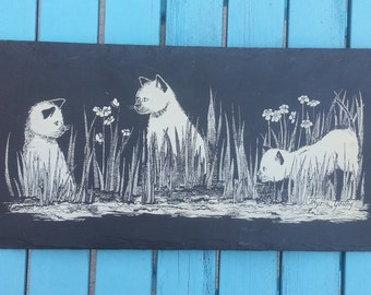 Vintage Cat Drawing on Slate - Wall Hanging