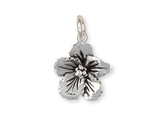 Sterling Silver Hibiscus Flower Charm Jewelry HIB-C