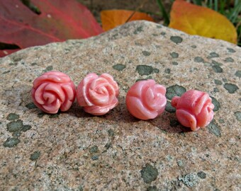 Carved Pink Coral Rose Bead or Button (lot of 4)