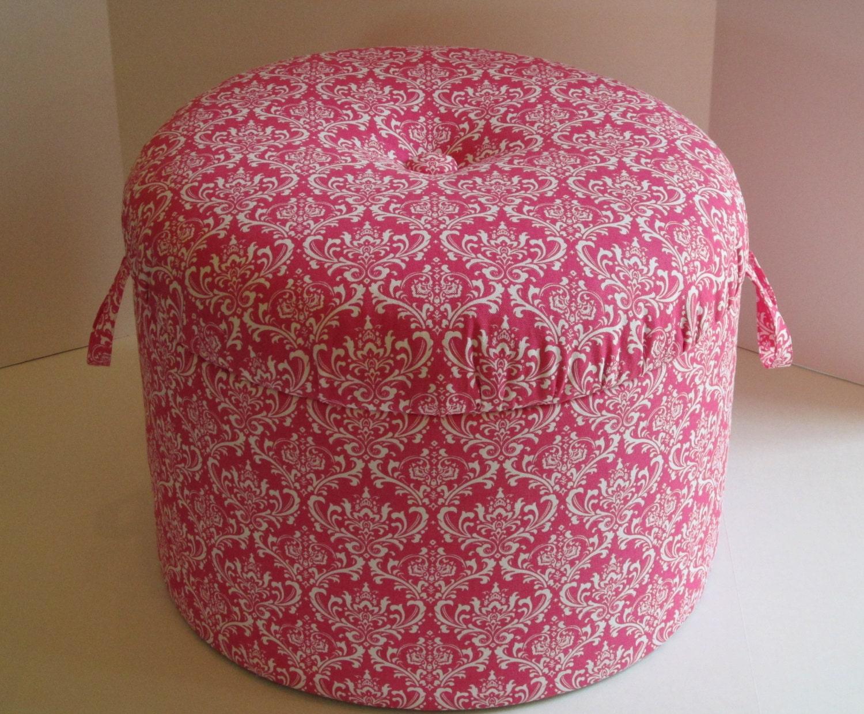 🔎zoom - Pink & White Damask Storage Ottoman Footstool Nursery Pouf