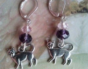 cat earrings cat charms cheshire cat