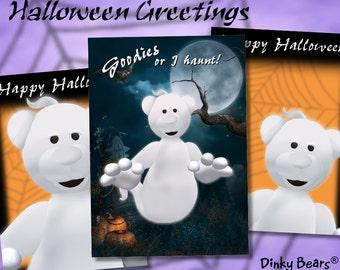 Dinky Bears Ghost Halloween Greetings - Digital Download