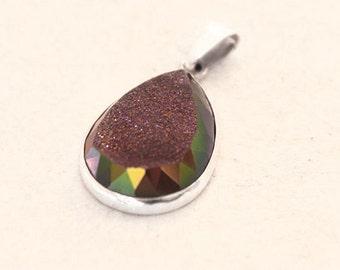 Agate Druzy Gemstone Silver Pendant with- Teardrop-Purple-Chic-Modern-Facet Cut-Drop-Irridisence