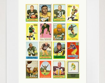 Green Bay Packers - Packers Football Poster - Vintage Football Card Collage