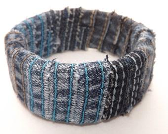 Upcycled Denim Bangle Bracelet