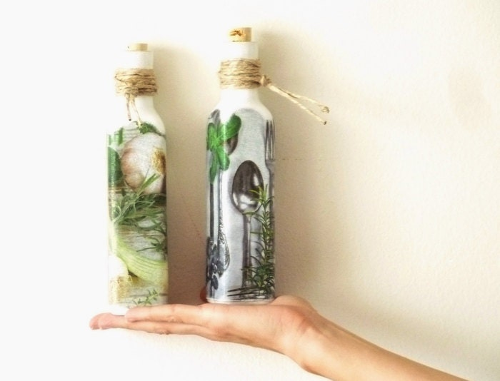 decorative bottles rustic kitchen decor decoupage by