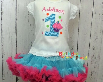 Cupcakes and Hearts Pettiskirt Birthday Outfit (10080)
