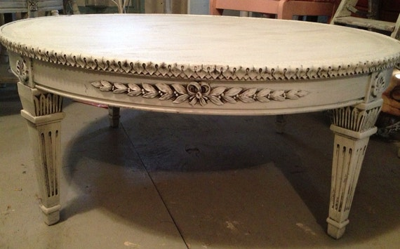 Round Coffee Table Shabby White Ivory Distressed Finish