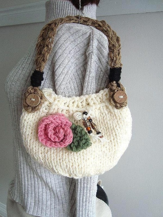 KNIT Handbag purse - Knitting PATTERN - Easy to make knit bag, handle ...