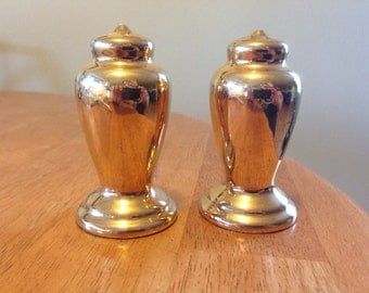 vintage Golden ceramic salt and pepper shakers