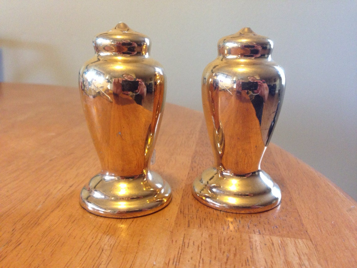 Vintage Golden Ceramic Salt And Pepper Shakers