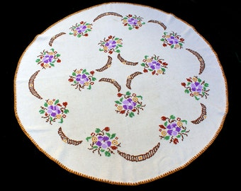 Big Vintage round / oval LINEN tablecloth with FLOWERS floral embroidery table cloth Cross Stitch 50s