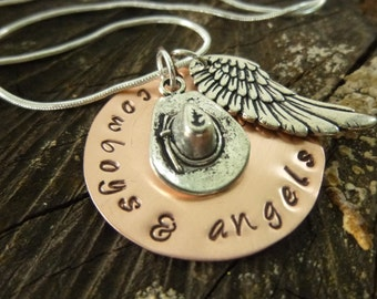 hand stamped jewelry personalized necklace cowboys and
