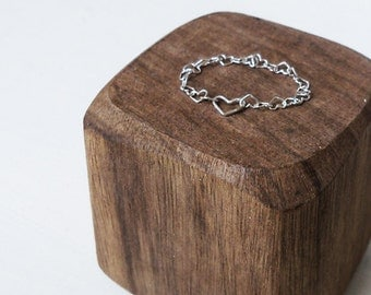 Sterling silver Heart Chain Ring / Silver Heart  Ring / Tiny Heart Ring / Delicate Chain Ring / Friendship Ring / Ring For Girls