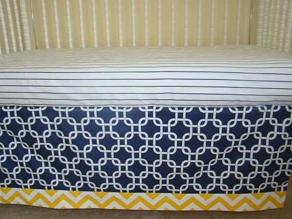 Items similar to bumperless crib bedding baby bedding navy - Navy blue and yellow bedding ...