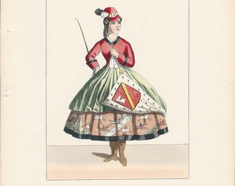 Hand Colored Fashion Print Lacy's Modern Costumes A Modern Diana Plate 193