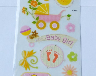 New for Scrapbooking Embellishment Rub-On Transfers Baby Girl