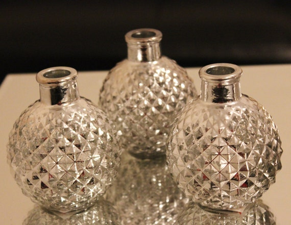 10 silver mercury glass bud vases mini vase christmas vintage. Black Bedroom Furniture Sets. Home Design Ideas