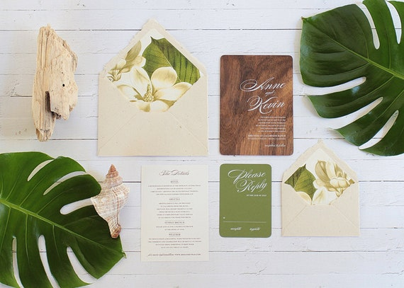 Real Wood Wedding Invitations: Magnolia Engraved Wood Wedding Invitations By Oakandorchid