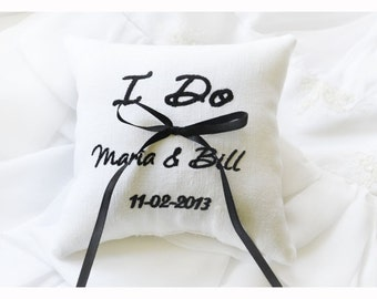 Wedding ring pillow , ring beare pillow , ring pillow  , personalized wedding pillow , embroidery wedding pillow (R35)