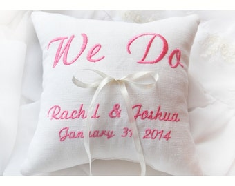 We Do ring pillow, Ring bearer pillow , wedding pillow , wedding ring pillow, Personalized  ring bearer pillow , embroidered pillow (BRP1)