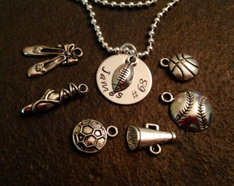 Personalized necklace with your choice of charm sports football baseball soccer basketball dance ballet