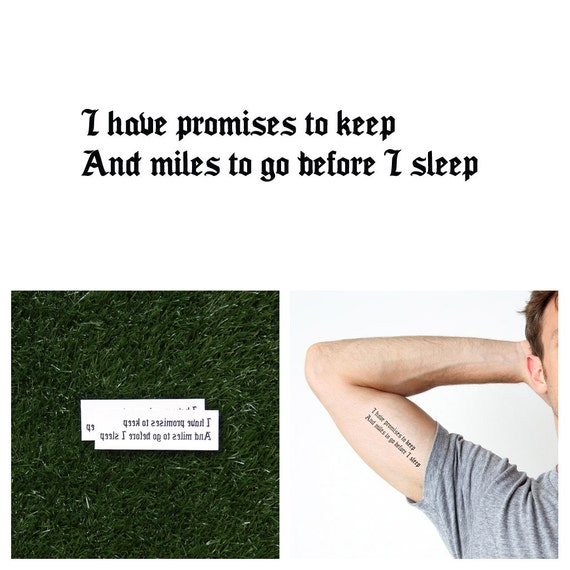 Promises To Keep Temporary Tattoo Quote Set Of 2