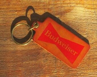 Vintage 70s Budweiser Beer Leather KeyChain