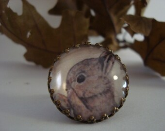 ring whit rabbit vintage style designed by Francesca Pirrone