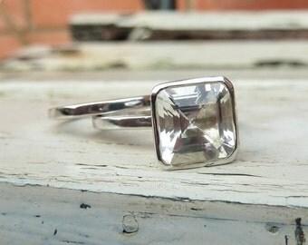 white topaz engagement ring set, white gold topaz engagement ring set,