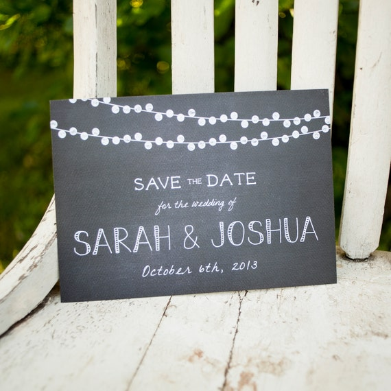 Chalkboard Save the Date, Rustic Save the Date  - The Lights - Rustic Save the Date, chalkboard, save the date postcard, rustic wedding