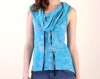 Turquoise Burnout Cowl Neck Top