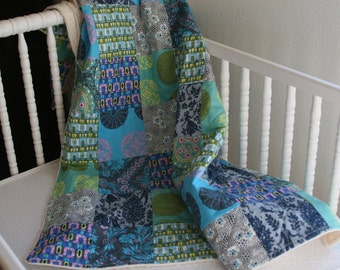 Minky Patchwork Toddler Quilt, Plush and Cuddly, Amy Butler, Cameo, blue, teal, violet, olive, grey, All Natural, Handmade